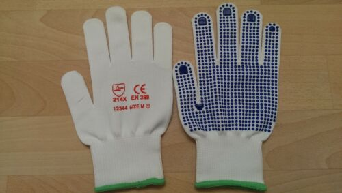 Top Quality S//M//L//XL  FREE P/&P 1-120 pairs White or Blue Arco Dotted Gloves