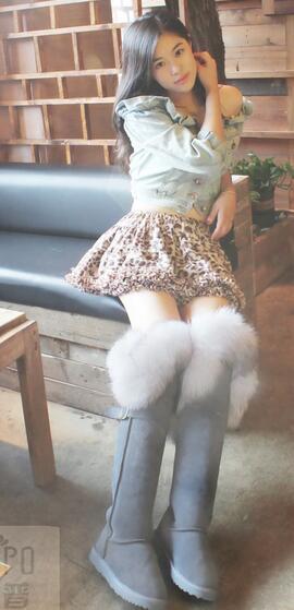 Damenschuhe Winter Tall Snow Stiefel Fur Lining Real Fur Trim E828 Suede Knee High Boot E828 Trim 932556