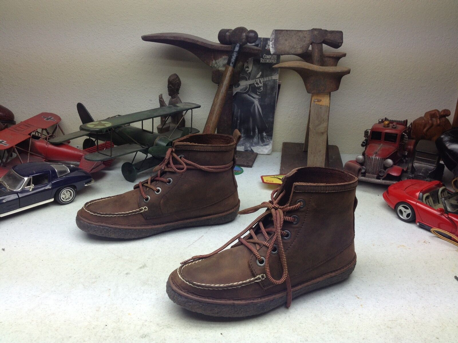 CALIFORNIA AUTHENTIC SEAVEES 5 EYE LACE UP TRAIL HIKE Marroneee LEATHER stivali 7 M
