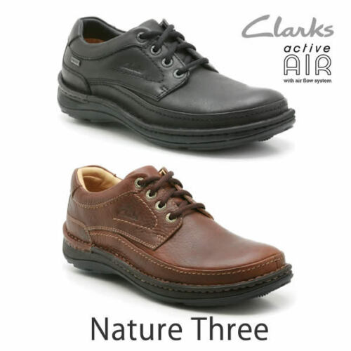 Clarks Mens NATURE three GTX Waterproof , Black Lea UK 8,9,10,11,12 G