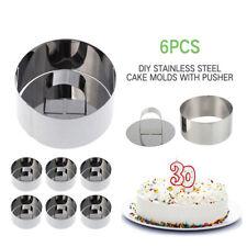 EDOBLUE Stainless Steel Cake Ring Mini Baking Dessert Mousse Mold with Pusher 5PCS