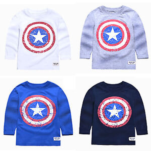 Captain-America-Boys-Kids-T-Shirts-Shirt-Tops-Tee-Toddler-Cospaly-Costume-2-7Y