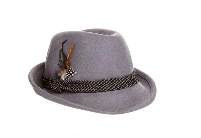 Oktoberfest Alpine Fedora Hat - Gray Wool - Nice, High Quality Construction XL