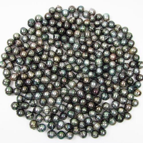 10 Pcs 9-10mm UNDRILLED Círculo Suelto Negro Perla Tahitiana Barroco