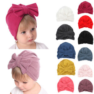 64d828877c13 Newborn Kids Baby Girls Boys Bowknot Sleep Cap Headwear Hat Winter ...