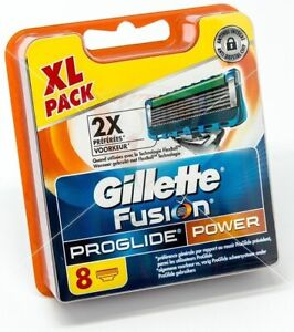 8PCS-GENUINE-GILLETTE-FUSION-PROGLIDE-POWER-SHAVING-RAZORS-CARTRIDGES-BLADES-AA