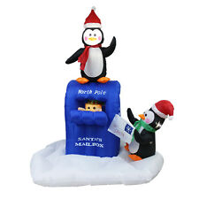 Christmas Animated Airblown Inflatable Penguins Elf Mailbox Scene Blow Up New