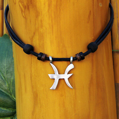 Sternzeichen Kette Halskette Surferkette Surferhalskette Lederkette Horoskop | eBay
