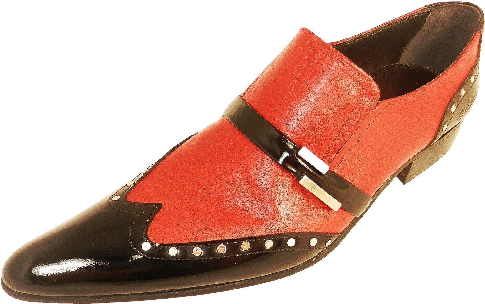Chelsy - Italienischer Designer Designer Designer Slipper Straußenmuster vernietet rot / schwarz 78a73c