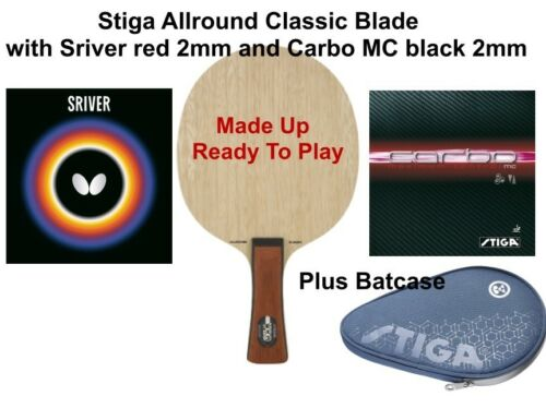 Case Sriver Red+Carbo MC Black 2mm Stiga AR Classic Blade Table Tennis Bat
