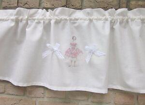 Details zu Shabby GARDINE *BALLERINA* Kinderzimmer Mädchen Baby Chic  Vintage rosa weiß
