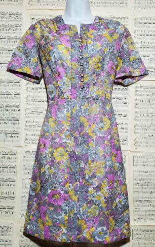 Vintage 1940s 1950s Handmade Sheer Floral Day Dre… - image 1