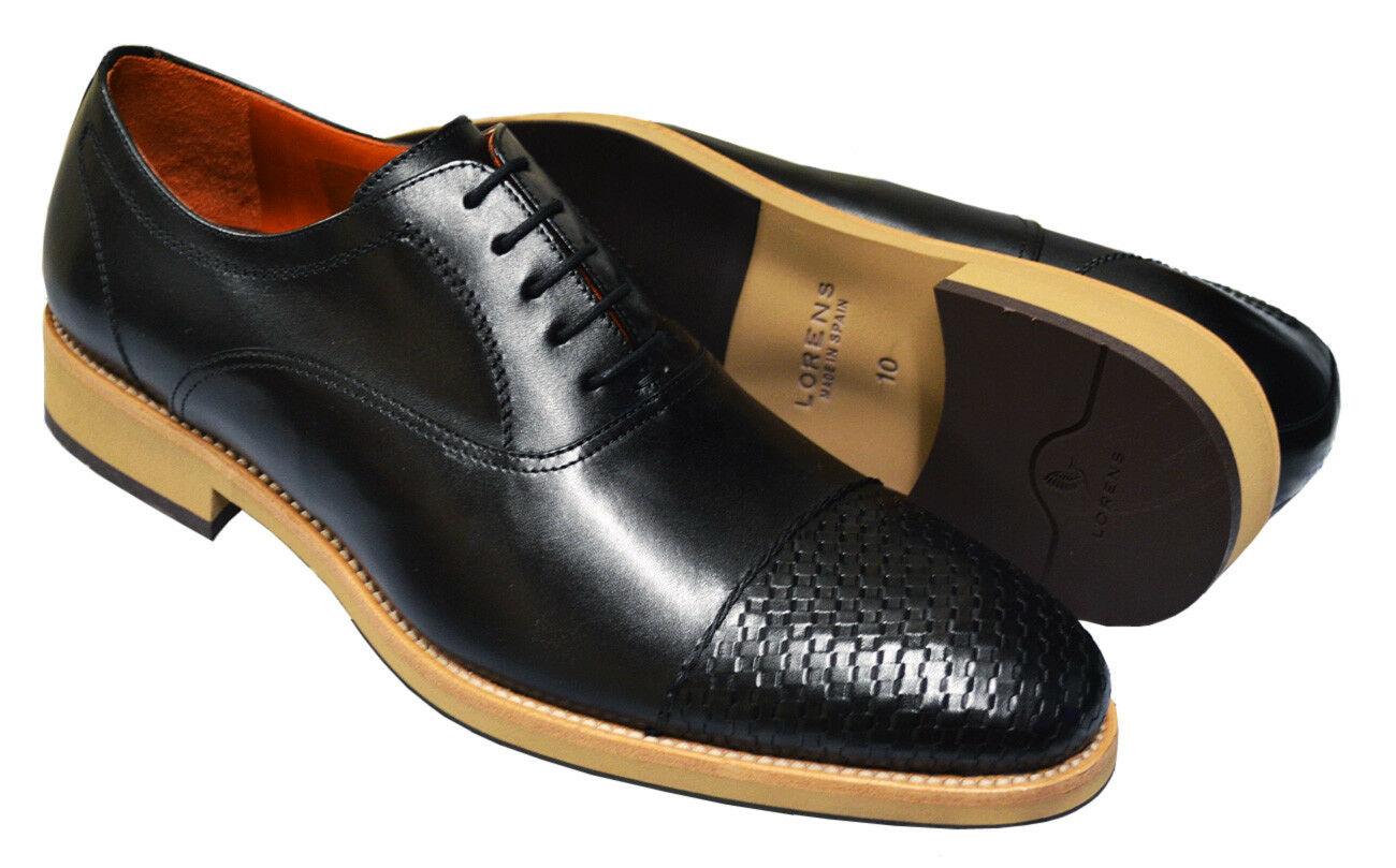 Lorens SPAIN Red Black Leather Weave Cap Round Toe Casual Dress shoes Size 10.5