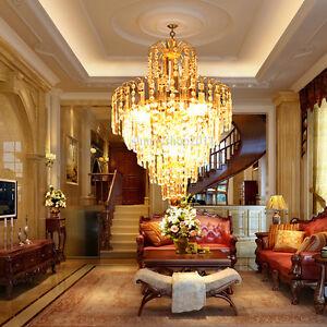 Kristall-Kronleuchter-Verre-Cristal-Lustre-Lampe-Plafond-Eclairage-Lumiere