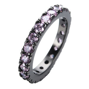 Size 6/7/8/9/10 Classic Wedding Ring Pink Sapphire CZ Womens Black Gold Filled