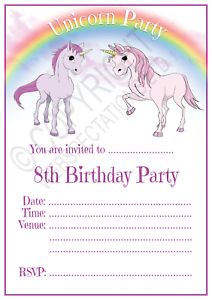 Super Unicorn 8Th Birthday Party Invitations Cards Girls Age 8 Funny Birthday Cards Online Fluifree Goldxyz