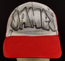 James Airbrushed Painted Red Mesh Trucker Baseball Hat Cap Adjustable Snapback