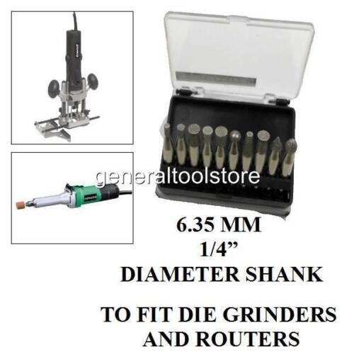 """10 PIECE DIAMOND BURR BIT SET DRILL DIE GRINDER ROUTER 6.35 MM 1//4/"""" SHANK CUTTER"""