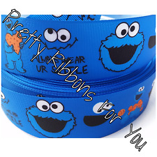 "Cookie Monster 1.5"" wide grosgrain ribbon the listing is for 5 yards total"