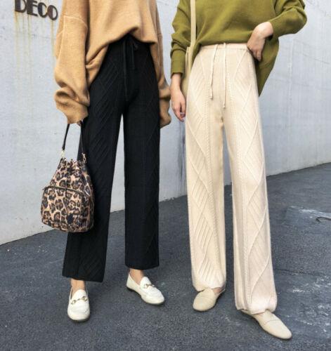 Femmes Large Jambe Pantalon en Tricot Cachemire Mélangé Taille Haute Coupe Ample Pantalon