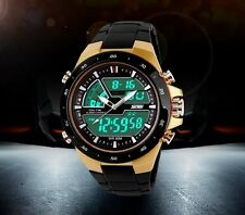 Waterproof Watch Men's Diving Sports Black Gold Swimming Diver Shower Wristwatch