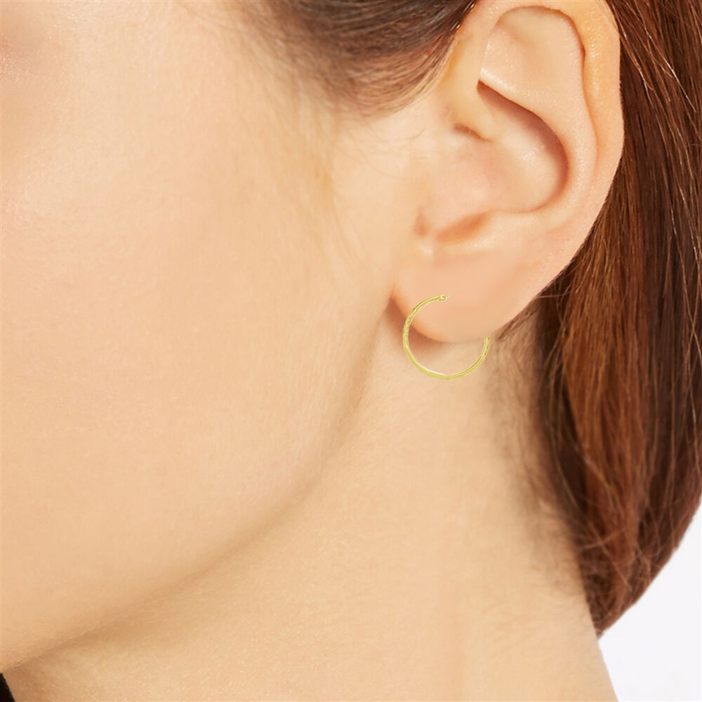 10K Real Yellow gold DC Tubular Hoop Fancy Hoops Earrings 25mm 1