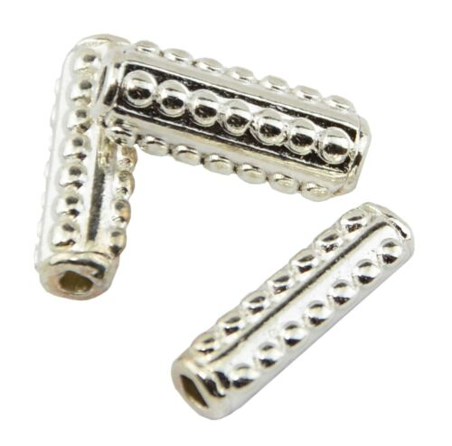 Pack of 10 Silver Plated Bumpy Tube Spacers 280452-169
