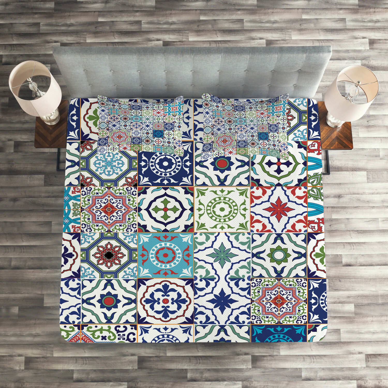 Boho Quilted Coverlet & Pillow Shams Set, Asian Elements Floral Print
