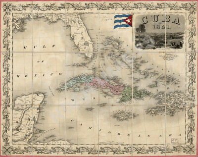 Map of Cuba c1851 30x24