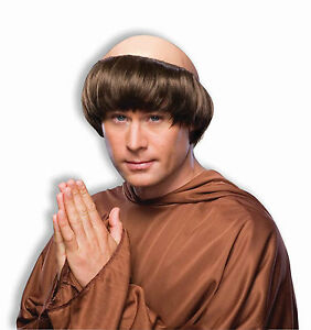 Monk Wig Religious Pious Dark Brown Bald Costume Accessory Bowl
