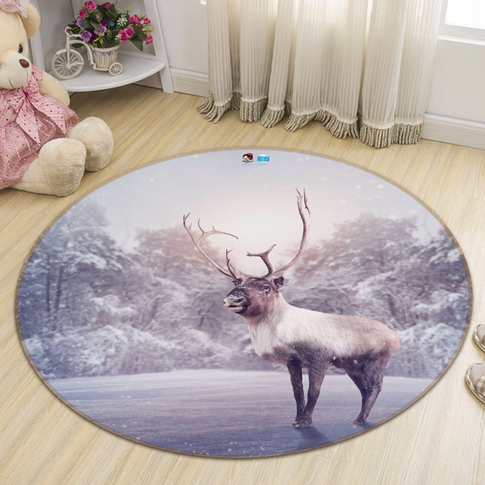 3D Snowflake Elk 41 Non Slip Rug Mat Room Mat Round Quality Elegant Photo Carpet