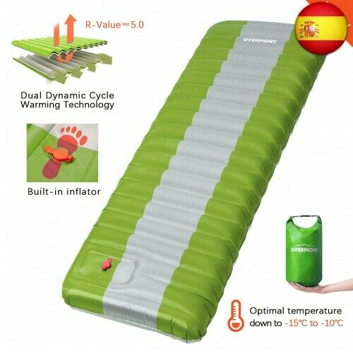 Overmont Inflable Esterilla Camping Colchón 12cm Extra Grueso Hinchable (Verde)