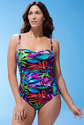 c83d03bd79b0e LANDS' END Plus Size 16W Blue Palm Carmela Slender Swimsuit NWT $165 ...