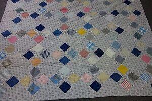 Edwardian Tied Quilt- GARDEN OF EDEN Pattern-VG -63x77-Cherries Print Backing
