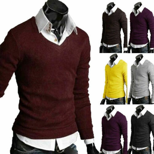 V-neck Warm Winter Knitted Top Fit Slim Mens Sleeve Casual Sweater Long Pullover