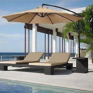 hanging umbrella patio sun shade offset outdoor cross base garden yard pool new ebay. Black Bedroom Furniture Sets. Home Design Ideas