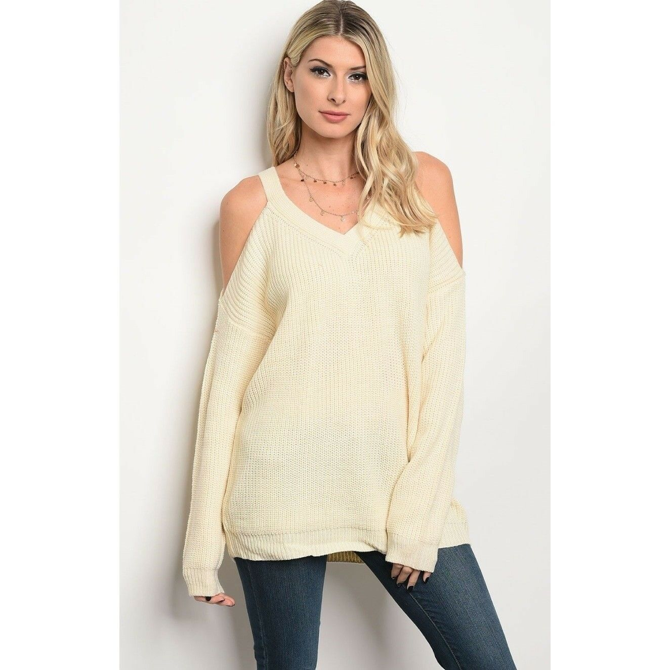 Boutique Chunky Knit Sexy Cold Shoulder Sweater Tunic New S M L Ivory