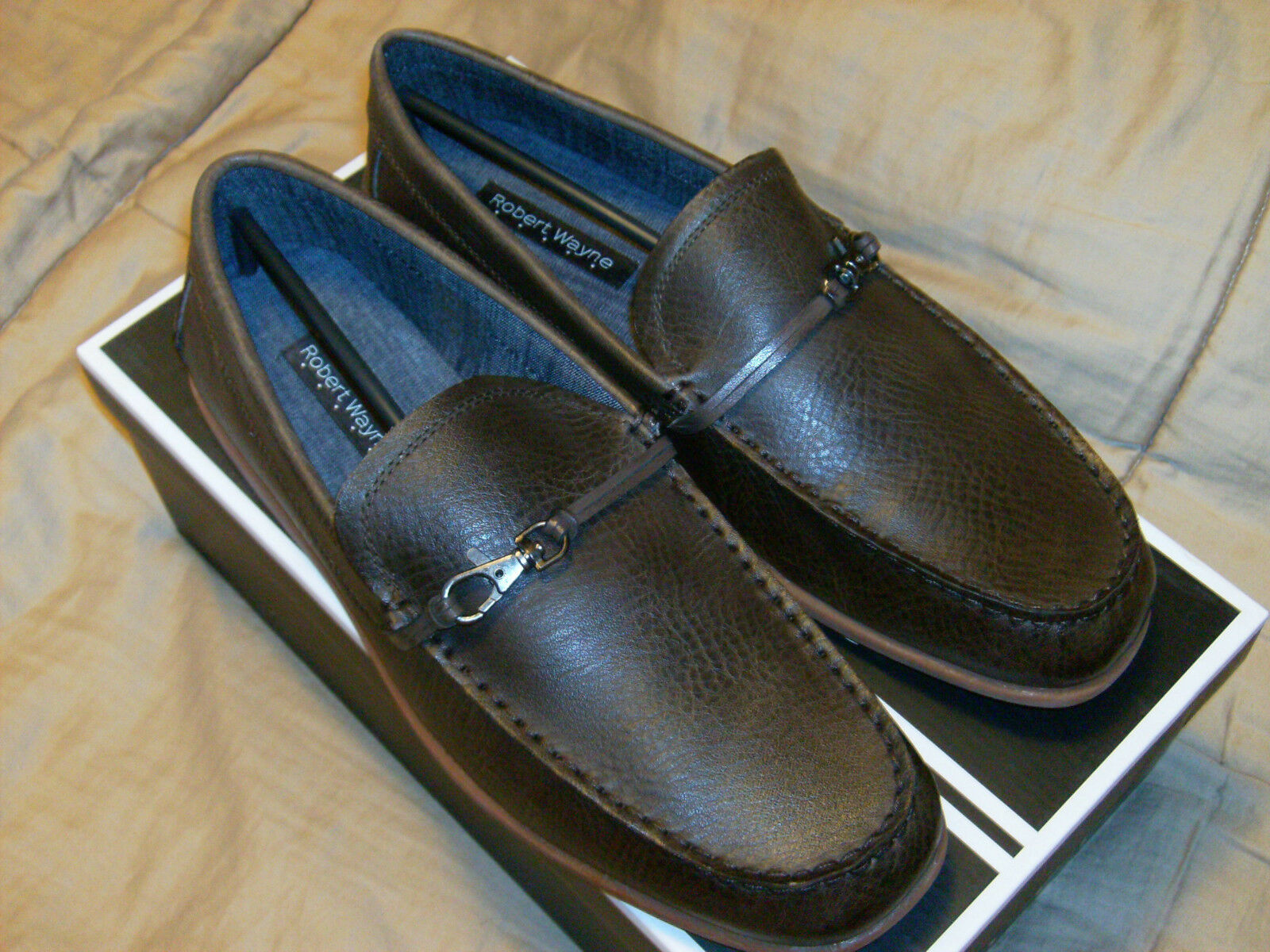 AUTHENTIC;Robert Wayne Mens Akira Brown Leather Slip On Loafer Dress shoes NWB