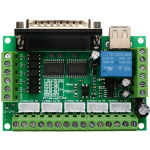 5 Axis USB Interface Breakout Board For Driver Stepper Motor CNC Mill MACH3