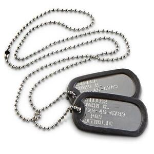 Military Personalized Dog Tags Stainless Steel (MATTE) OFFICIAL GI ARMY / USMC
