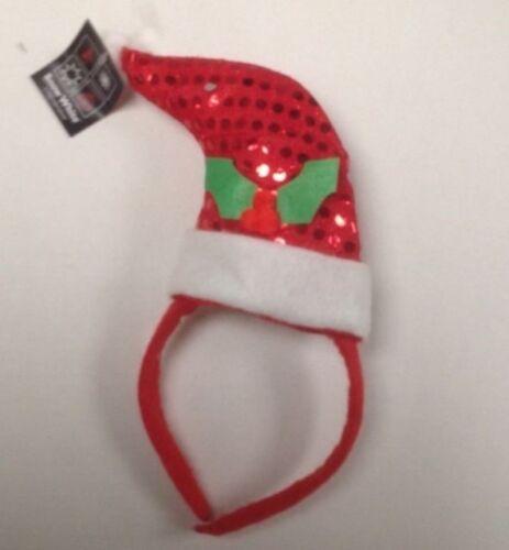 Nouveaute rouge sequin santa hat head band avec holly design