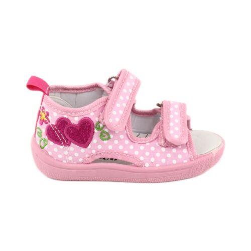American Club Kinderschuhe Hausschuhe Sandalen Herzen American TEN20 weiß pink