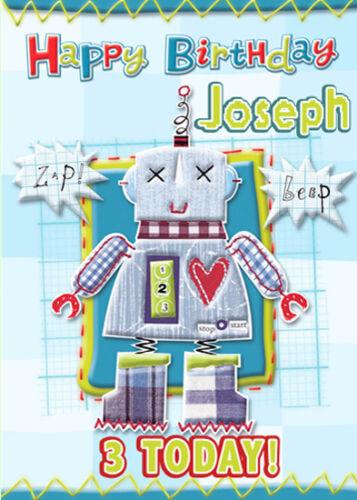 Robot personnalisé de carte d/'anniversaire Ajouter Votre Propre Nom Et Âge