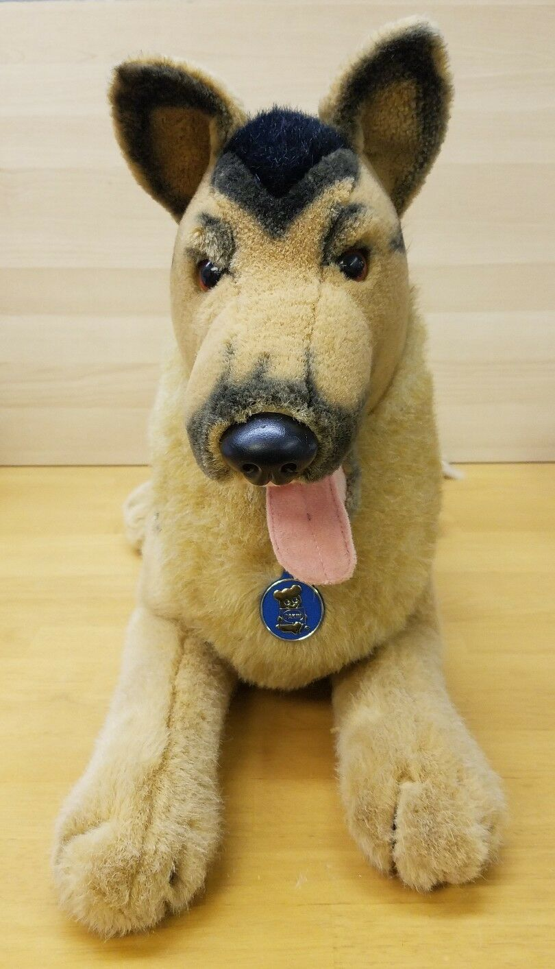 1986 Vintage Dakin German Shepard Plush With Pennant 34  Large Great Condition