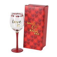 REGALO DI SAN VALENTINO LOVE & Kisses bicchiere di vino SCATOLA REGALO CON libera CIOCCOLATO CUORE