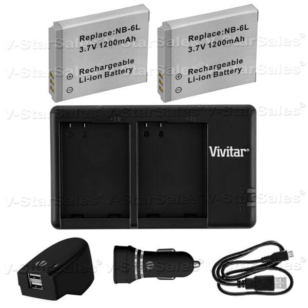 2x Nb-6lh Batterie De Remplacement & Dual Usb Chargeur + Ac/dc Pour Canon Sx710 S120 D30