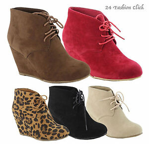 Women's Wedge High Heel Booties Lace Up Round Toe Ankle Boots ...