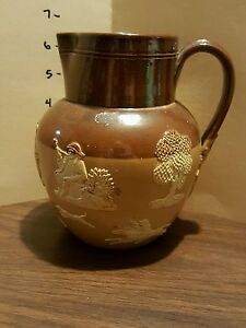 "Antique DOULTON LAMBETH Stag Hunting Ware Pitcher c1891 6.5"" Tall Nice-afficher le titre d`origine FlDIjemb-09164749-317812794"