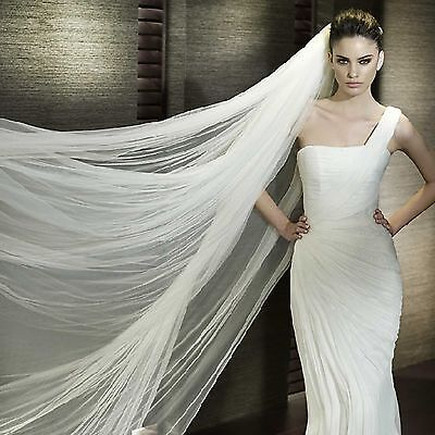 White / Cream 2.8m 2 Tiers Cathedral Soft Tulle Organza Wedding Veil With Comb