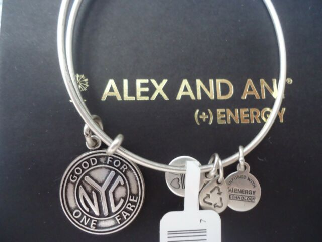 Alex and Ani NYC SUBWAY TOKEN Russian Silver Charm Bangle New W/ Tag Card & Box